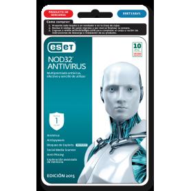 ESET NOD 32 Antivirus 1 PC  Año 2015 ESET15AV1