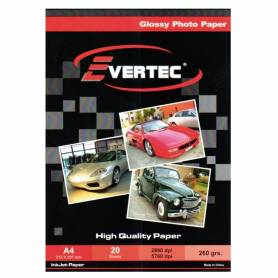 Papel Foto Glossy A4 260g 20 hojas EVERTEC
