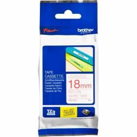 Casete de cinta blanca letras rojas 12mm para Brother P-Touch
