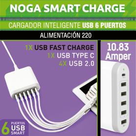 Cargador inteligente USB de 6 Puertos 1x USB C 1x Carga Rapida 4x USB 2.0 Noga