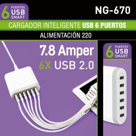 Cargador USB de 6 Puertos USB  6x USB 2.0 - 5V-7,8A Noga