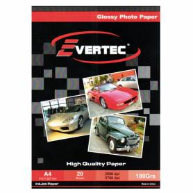 Papel Foto Glossy A4 180g 20 hojas EVERTEC
