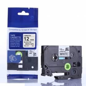 Casete de cinta blanca letras negras 12mm para Brother P-Touch