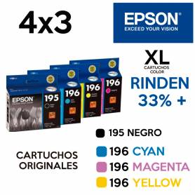Super Promo EPSON 4x3 195BK + 196C +196M + 196Y  Colores XL original (LCC)