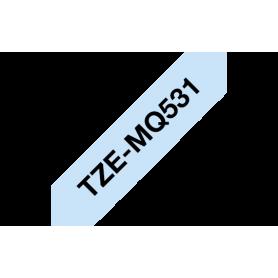 Casete de cinta azul pastel, letras negras 12mm para Brother TZ / TZe