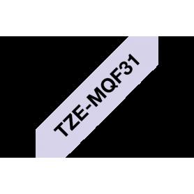 Casete de cinta lila pastel, letras negras 12mm para Brother TZ / TZe