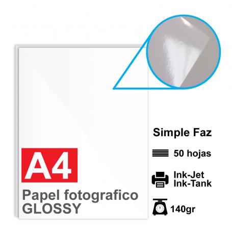 Papel A4 Foto Glossy, 140g por 50 hojas