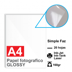 Papel A4 Foto Glossy LASER e INKJET 160g por 20 hojas