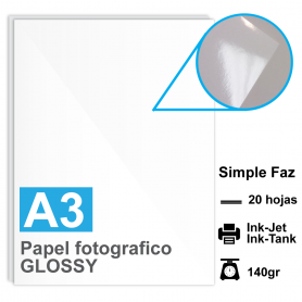 Papel A3 Foto Glossy, 140g por 20 hojas