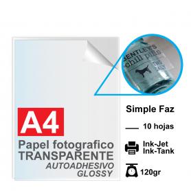 Papel A4 Foto TRANSPARENTE autoadhesivo, 120gr por 10 hojas