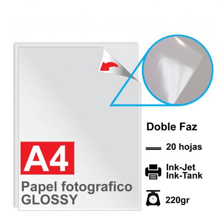 Papel A4 Foto Glossy DOBLE FAZ, 220g por 20 hojas