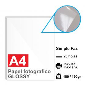 Papel A4 Foto Glossy, 180/190g por 20 hojas