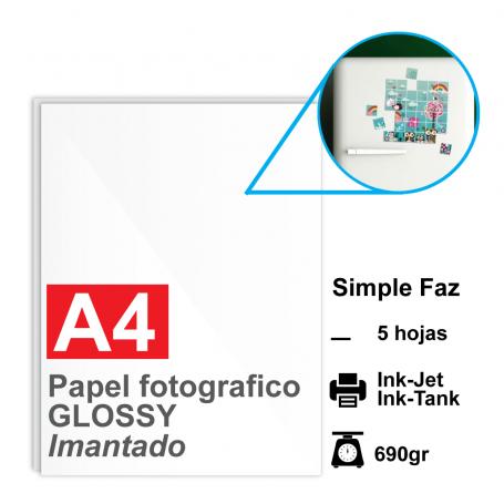 Papel A4 Foto Glossy IMANTADO, 690g por 5 hojas