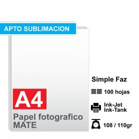 Papel A4 Foto Mate, 108/110g  por 100 hojas *APTO SUBLIMACIÓN*