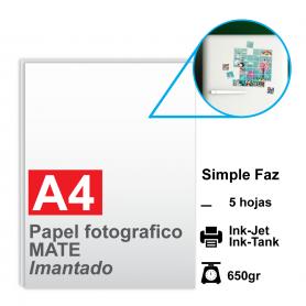 Papel A4 Foto Mate IMANTADO, 650g por 5 hojas