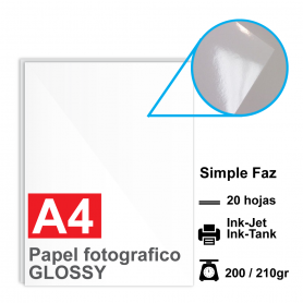 Papel A4 Foto Glossy, 200/210g por 20 hojas