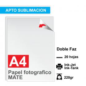 Papel A4 Foto Mate DOBLE FAZ, 220g por 20 hojas