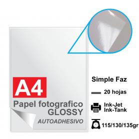 Papel A4 Foto Glossy AUTOADHESIVO, 115/130/135g por 20 hojas