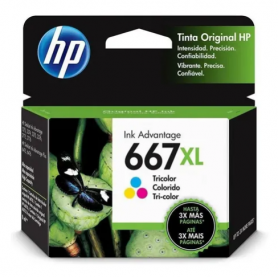 HP 667 XL *Alto rendimiento* original de tinta color