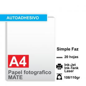 Papel A4 *Mate* autoadhesivo, 108gr por 20 hojas
