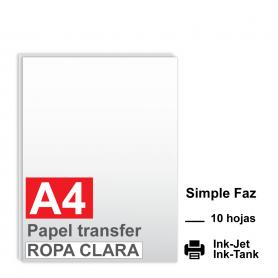 Papel transfer A4 prendas claras x 10 hojas.