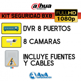 KIT DVR DAHUA FULL HD 1080P 8 CH + 8 CAMARAS FULL HD 1080P
