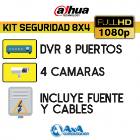 KIT DVR DAHUA FULL HD 1080P 8 CH + 4 CAMARAS FULL HD 1080P