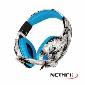 Auricular Gamer c/Micrófono Netmak NM-COUNTER (Azul)  para Pc, PS4, XBox