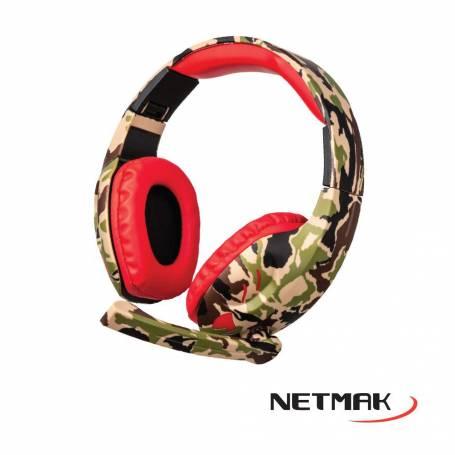 Auricular Gamer c/Micrófono Netmak NM-COUNTER (Rojo)  para Pc, PS4, XBox