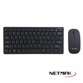 Kit Teclado y Mouse Inalámbrico Compacto NETMAK NM-KB570B