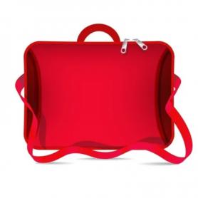 """Funda tipo maletín para notebook de Neoprene CdTek 14""""/15,6"""" Rojo (con manija y correa)"""