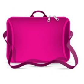 """Funda tipo maletín para notebook de Neoprene CdTek 14""""/15,6"""" Fucsia (con manija y correa)"""