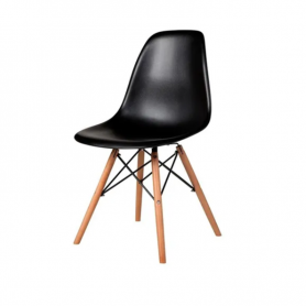 Silla Eames con patas de madera estilo nórdico - Negra