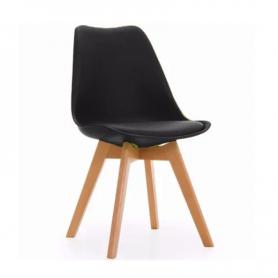 Silla Tulip con base de madera y almohadón / estilo nórdico (Negra)