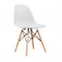 Silla Eames con patas de madera estilo nórdico - Blanca
