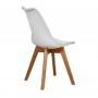 Silla Tulip con base de madera y almohadón nórdico (Blanca)