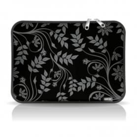 "Funda p/notebook *Diseño* de Neoprene  CdTek 14"" Negra ramas con hojas"