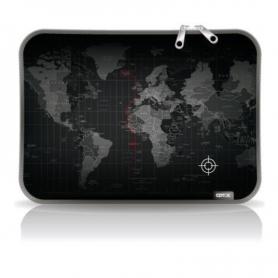 "Funda p/notebook *Diseño* de Neoprene  CdTek 14"" Negra maps"