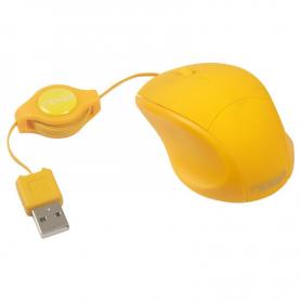 Mouse Rectráctil Noga Net NGM-418 Mini Amarillo