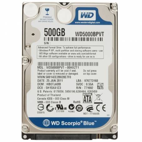 Western Digital 500GB sata 3 Notebook