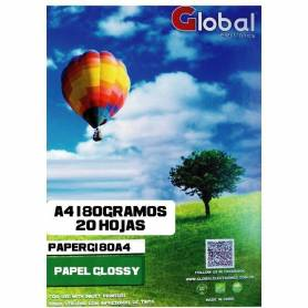 Papel Foto Glossy A4 180g 20 hojas Global Electronics